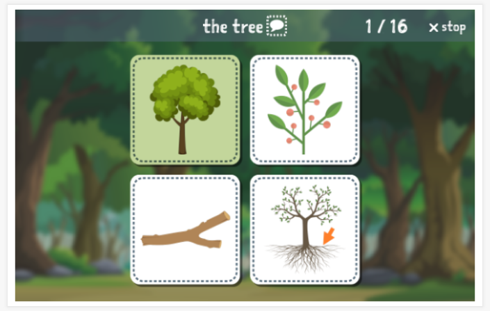 Forest theme Language test (reading and listening) of the app English for children