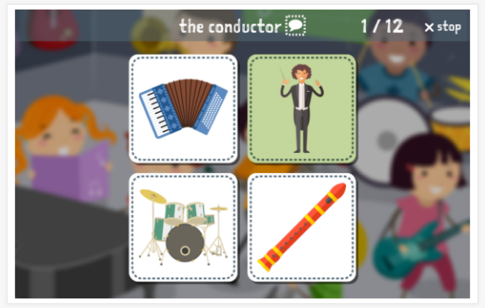 Music theme Language test (reading and listening) of the app English for children