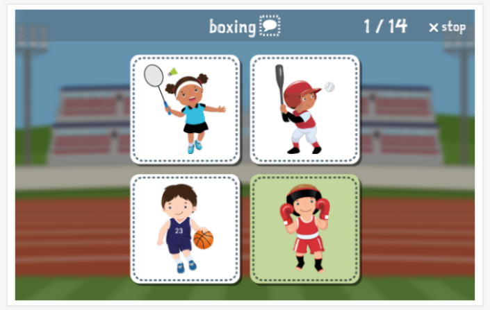 Sports theme Language test (reading and listening) of the app English for children