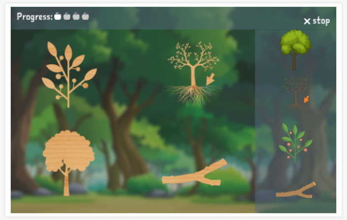 Forest theme puzzle game of the English app for children