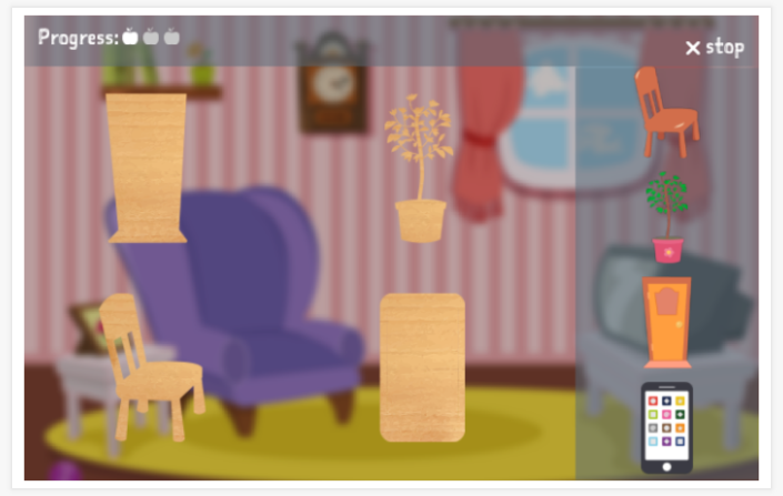Home theme puzzle game of the English app for children