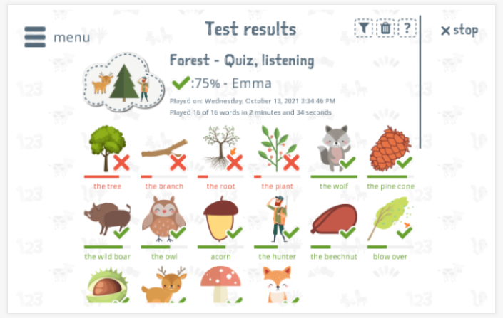 Test results provide insight into the child's vocabulary knowledge of the Forest theme