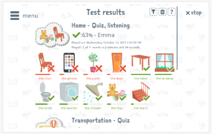 Test results provide insight into the child's vocabulary knowledge of the Home theme