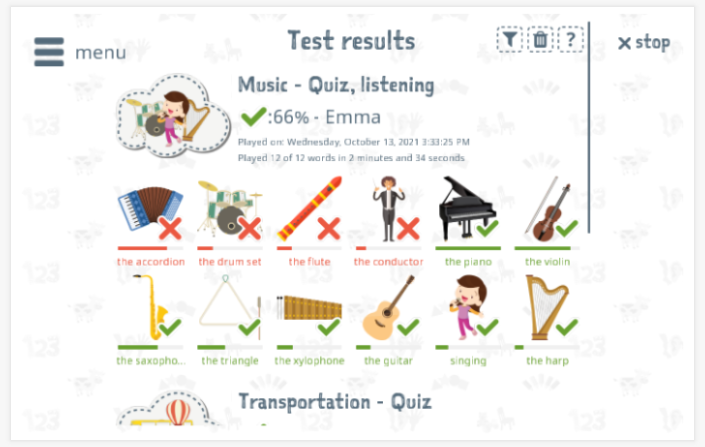 Test results provide insight into the child's vocabulary knowledge of the Music theme