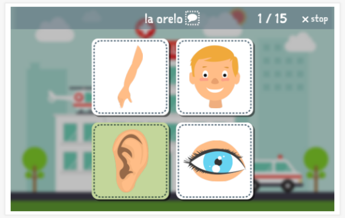 Body theme Language test (reading and listening) of the app Esperanto for children