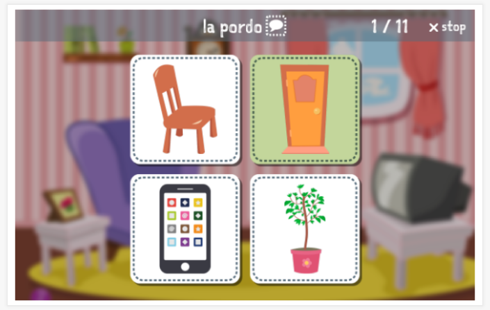 Home theme Language test (reading and listening) of the app Esperanto for children