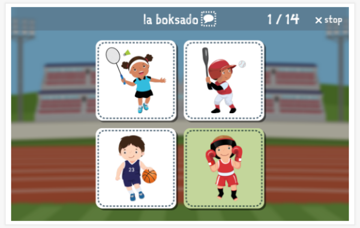 Sports theme Language test (reading and listening) of the app Esperanto for children