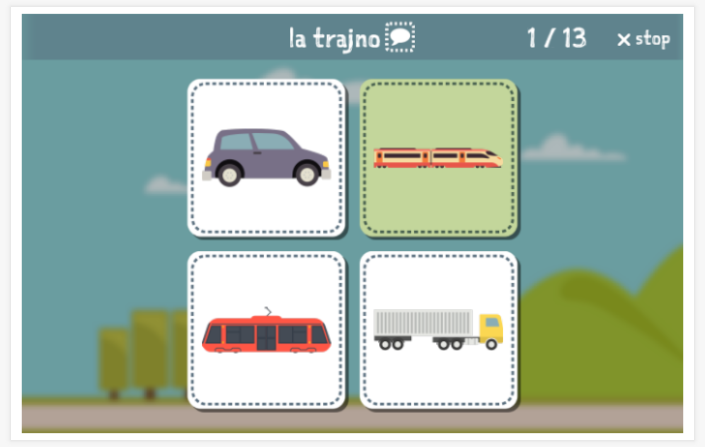 Transportation theme Language test (reading and listening) of the app Esperanto for children