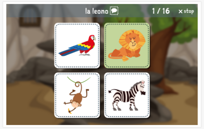 Zoo theme Language test (reading and listening) of the app Esperanto for children