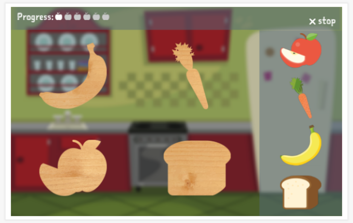 Food & drinks theme puzzle game of the Esperanto app for children