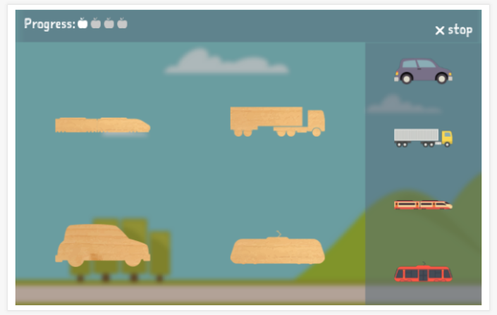 Transportation theme puzzle game of the Esperanto app for children