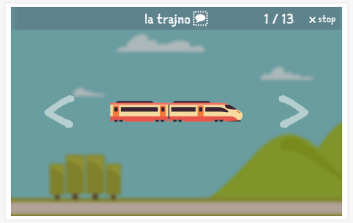 Transportation theme presentation of the Esperanto app for children