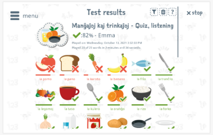 Test results provide insight into the child's vocabulary knowledge of the Food & drinks theme