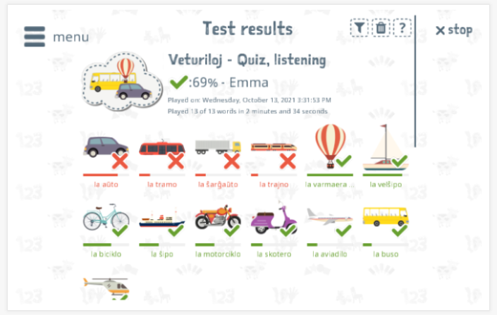 Test results provide insight into the child's vocabulary knowledge of the Transportation theme