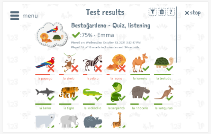 Test results provide insight into the child's vocabulary knowledge of the Zoo theme