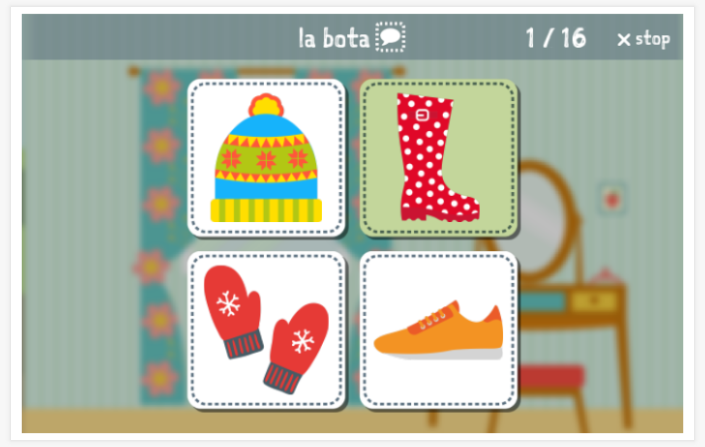 Clothing theme Language test (reading and listening) of the app Spanish for children