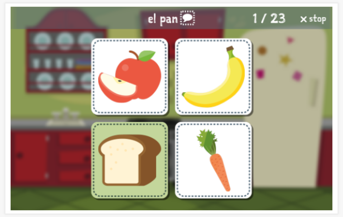 Food & drinks theme Language test (reading and listening) of the app Spanish for children