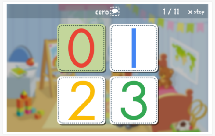 Numbers theme Language test (reading and listening) of the app Spanish for children