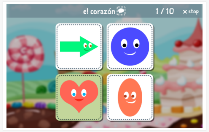 Shapes theme Language test (reading and listening) of the app Spanish for children