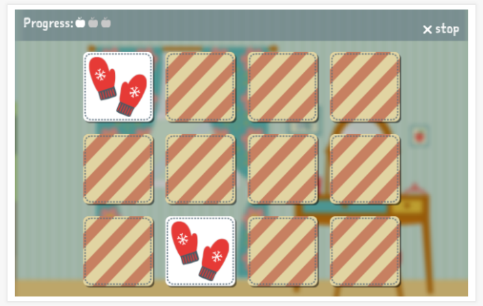 Clothing theme memory game of the Spanish app for children