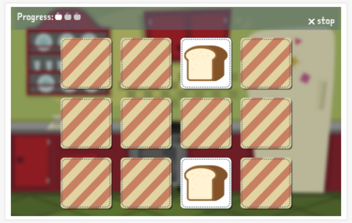Food & drinks theme memory game of the Spanish app for children