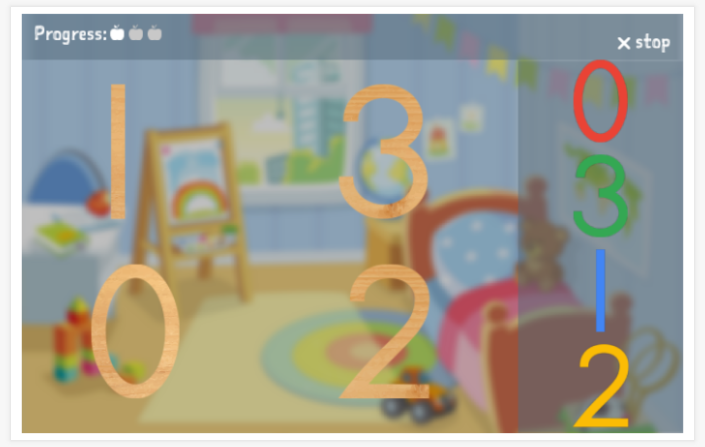 Numbers theme puzzle game of the Spanish app for children