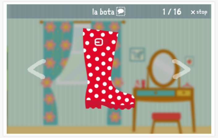 Clothing theme presentation of the Spanish app for children