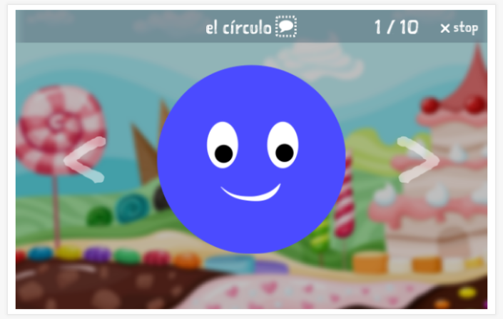 Shapes theme presentation of the Spanish app for children