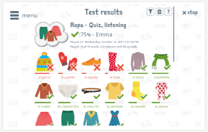 Test results provide insight into the child's vocabulary knowledge of the Clothing theme