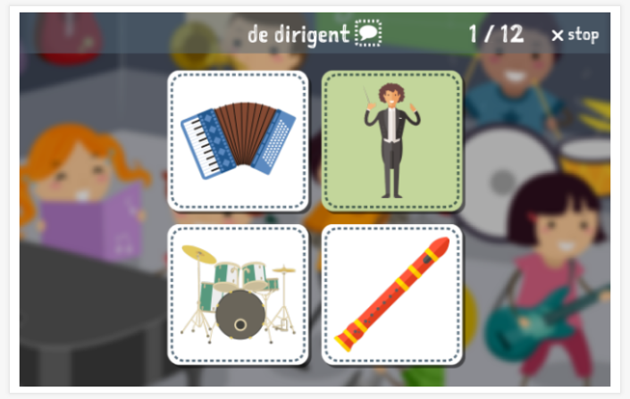 Music theme Language test (reading and listening) of the app Dutch for children