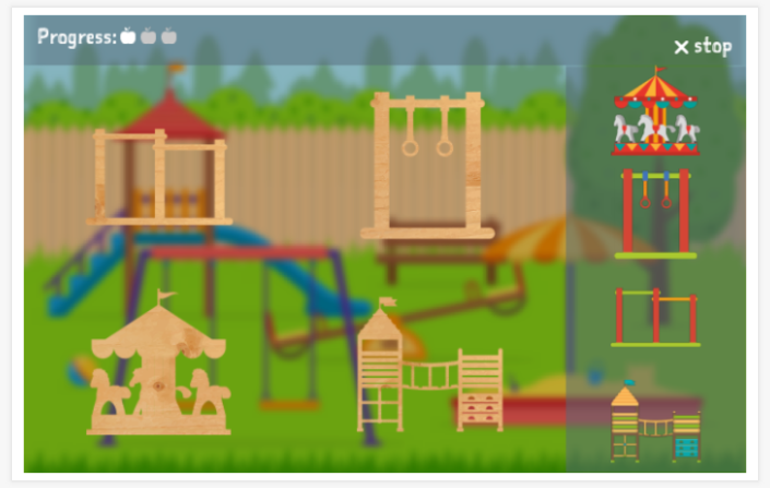 Playground theme puzzle game of the Dutch app for children