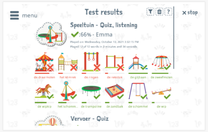 Test results provide insight into the child's vocabulary knowledge of the Playground theme