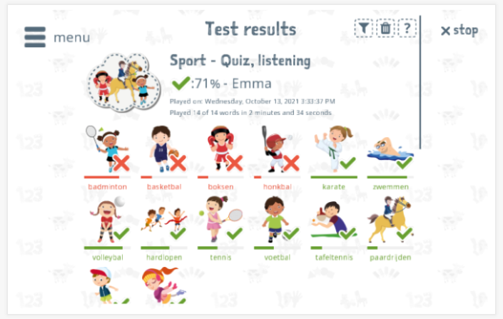 Test results provide insight into the child's vocabulary knowledge of the Sports theme