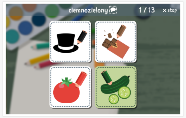 Colors theme Language test (reading and listening) of the app Polish for children