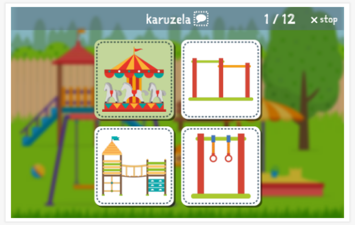 Playground theme Language test (reading and listening) of the app Polish for children