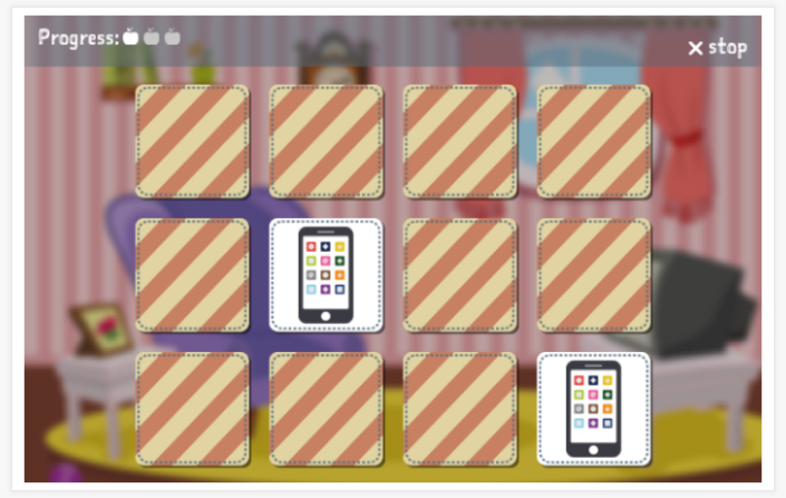 Home theme memory game of the Polish app for children