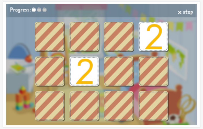 Numbers theme memory game of the Polish app for children