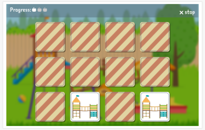 Playground theme memory game of the Polish app for children