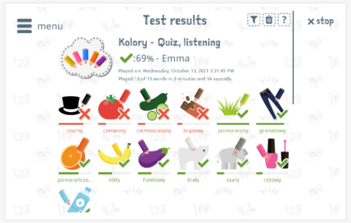 Test results provide insight into the child's vocabulary knowledge of the Colors theme