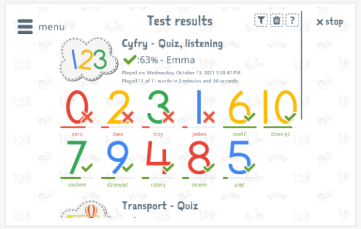 Test results provide insight into the child's vocabulary knowledge of the Numbers theme